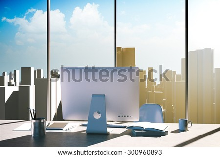 3d office workplace with skyline in the background - stock photo