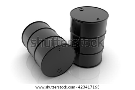 3D oil barrels on white background - stock photo