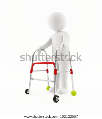 3D old man with walker - stock photo