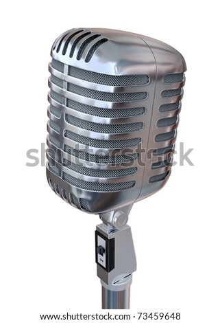 """3D Old metal microphone """"E"""" with alpha mask - stock photo"""