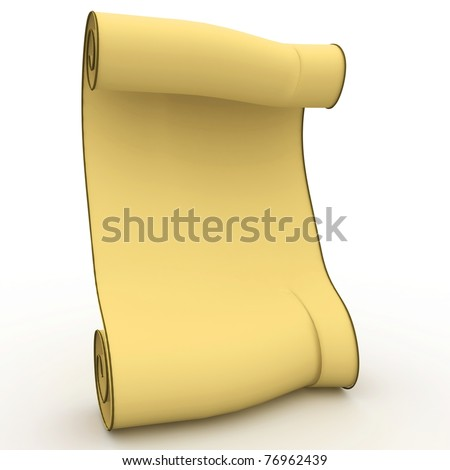 3d old yellow blank scroll isolated on white - stock photo