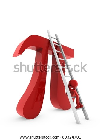 3d on pi symbol - stock photo