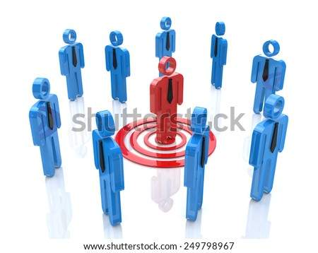 3d one unique red man targeted among the crowd  - stock photo