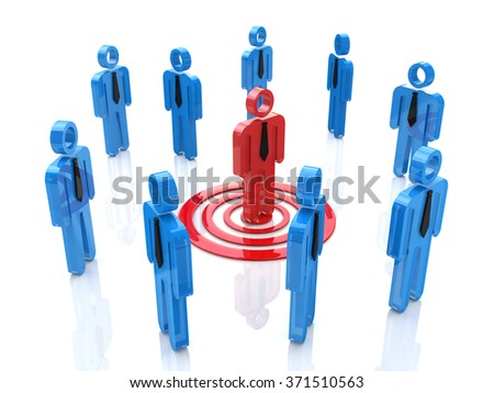 3d one unique red man targeted among the crowd in the design of information related to the business and the people - stock photo