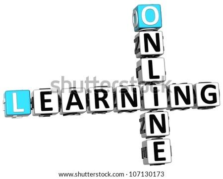 3D Online Learning Crossword on white background - stock photo