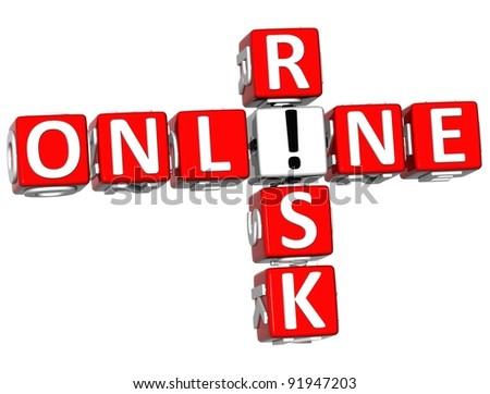 3D Online Risk Crossword on white background - stock photo