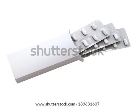 3d open box with pills on white background - stock photo
