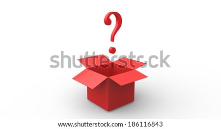 3D Open box with question mark - stock photo