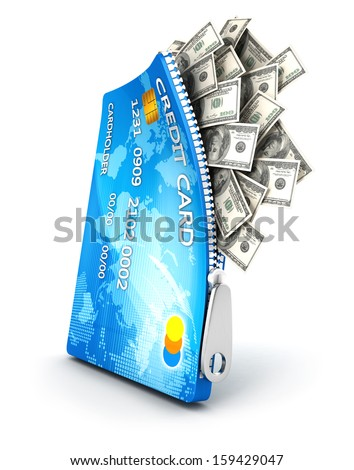 3d open credit card with dollar bills, isolated white background, 3d image - stock photo