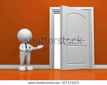 3d open door in the wall. 3d render - stock photo
