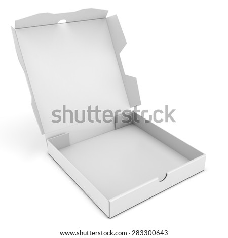 3d open pizza box on white background - stock photo