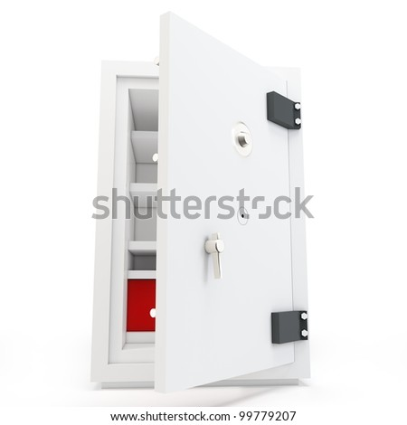 3d open safe box protection concept on white background - stock photo