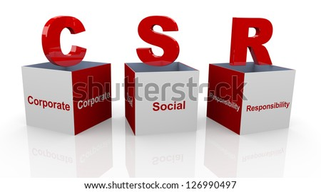 3d open text cubes of buzzword csr - corporate social responsibility - stock photo