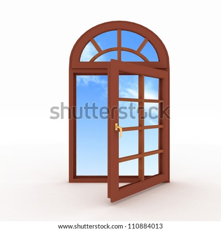 3d opened plastic window on white background - stock photo