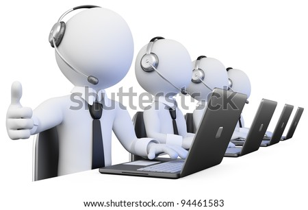 3D Operators working in a call center. Rendered at high resolution on a white background with diffuse shadows. - stock photo