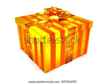 3D orange Gift cristmas box on the white - stock photo