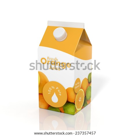 3D orange juice carton box isolated on white background  - stock photo