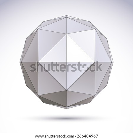3D origami abstract object, abstract design element - stock photo