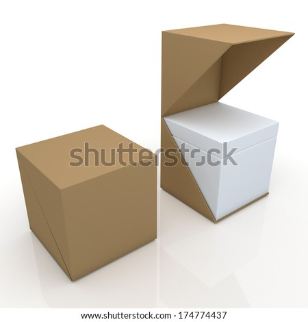3d original brown and clean white box open ready 2 pieces packaging blank template in isolated with clipping paths, work paths included  - stock photo