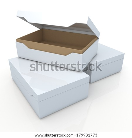 3d original brown and clean white container for shoes products, leather, clothes, or accessories blank template and core in isolated background with work paths, clipping paths included  - stock photo