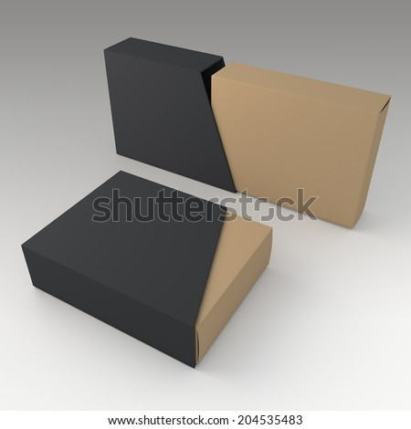 3D original brown blank box and blank matte black slide trapezoid cover in isolated background with work paths, clipping paths included  - stock photo