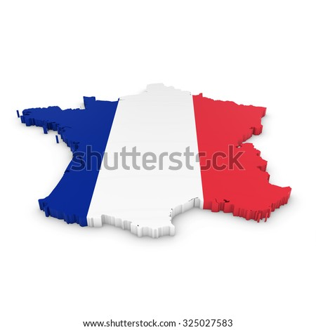 3D Outline of France textured with the French Flag - stock photo