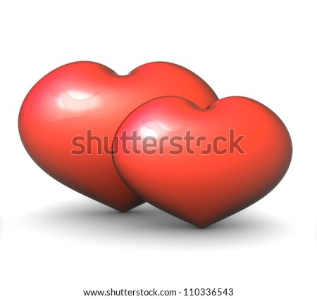3d pair of red hearts on a white background - stock photo