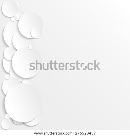 3D paper circles. Abstract raster version illustration. White background with place for text. - stock photo