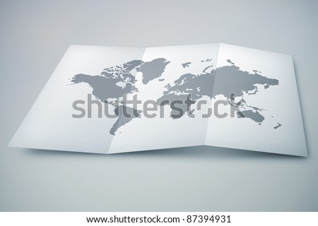 3D paper map on desk - stock photo