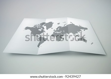 3D paper world map - stock photo
