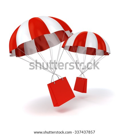 3d parachute and shopping bag - stock photo