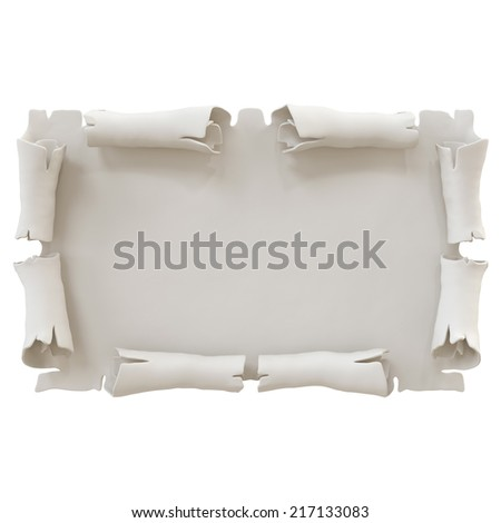 3d parchment banner illustration isolated on white background, manuscript frame - stock photo
