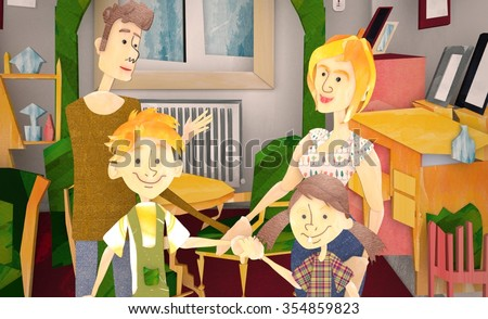 3d Parents Sitting With 3d Children Reading Story Indoors - stock photo