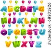 3D Party Balloons Font - stock photo