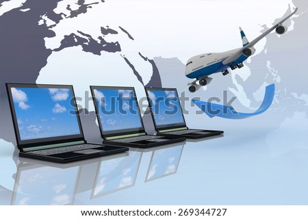 3d passenger jet airplane travels around the world - stock photo