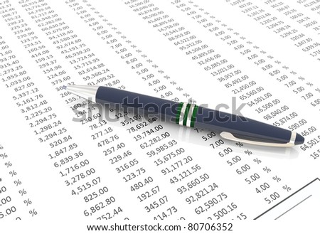 3d pen on the background of spreadsheet - stock photo