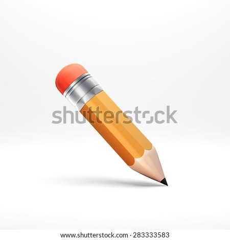 3d pencil illustration with shadow, isolated on white - stock photo