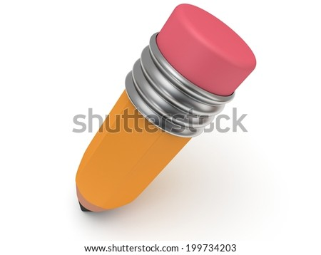 3d pencil on white background. Education, back to school concept. - stock photo