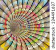 3d pencil tunnel in rainbow color - stock photo