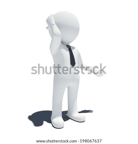 3d pensive man. Isolated on white background - stock photo