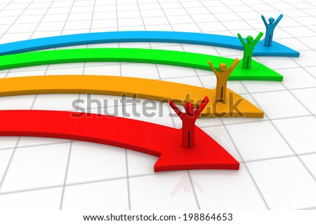 3d people and graph arrows - stock photo