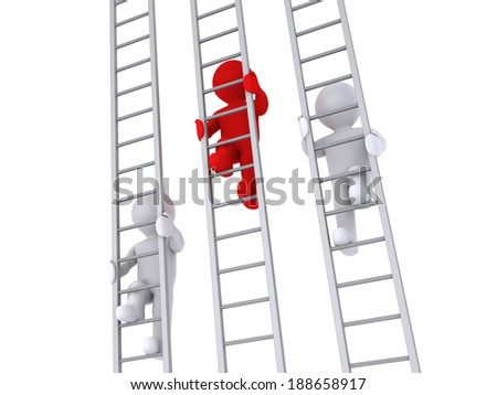 3d people are climbing three ladders as a competition - stock photo