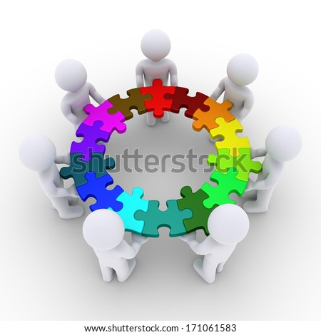 3d people are holding connected puzzle pieces that form a circle - stock photo