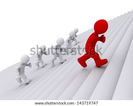 3d people are running on stairs, but one is ahead - stock photo
