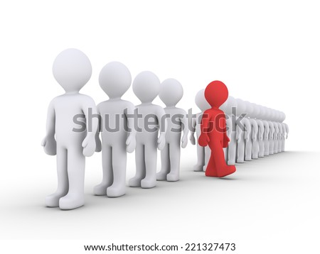 3d people are standing in a row and one is walking away - stock photo