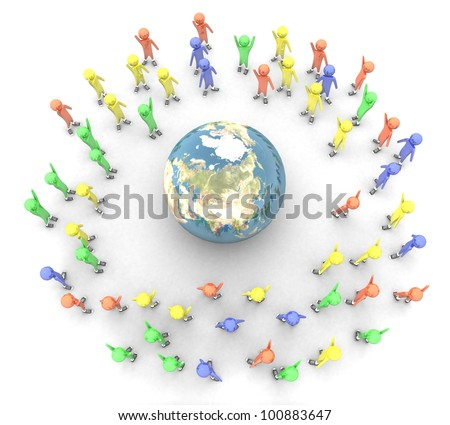 3d people around the earth on a white background isolated - stock photo