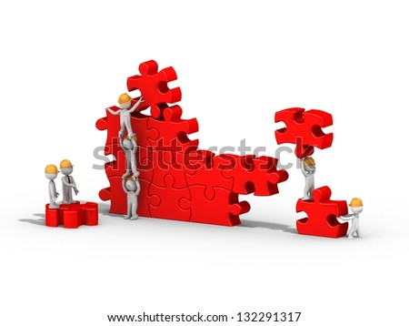 3d people building a puzzle, teamwork - stock photo