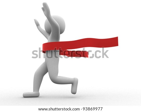 3d people crossing the finishing line - This is a 3d render illustration - stock photo