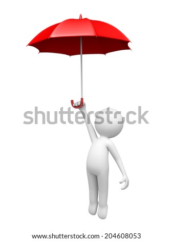 3D people flying with a red umbrella Isolated on White Background - stock photo