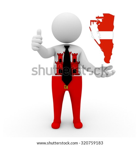 3 D people Gibraltar businessman - map flag of Gibraltar in Austria flag colors. Austrians in Gibraltar - stock photo
